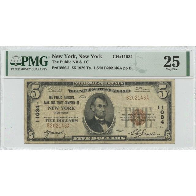 1929 Ty. 1 $5 Public NB & TC NY NY CH#11034 PMG VF25
