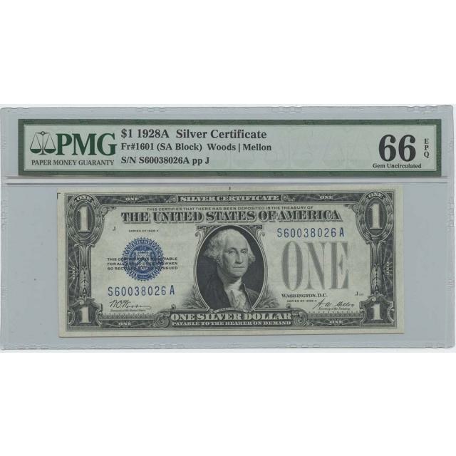 1928A $1 Silver Cert FR#1601 (SA Block) PMG 66 Gem UNC EPQ