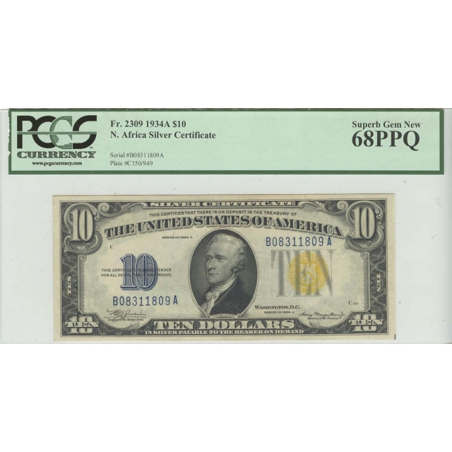 1934A $10 N. Africa PCGS 68 SUPERB GEM PPQ FR#2309