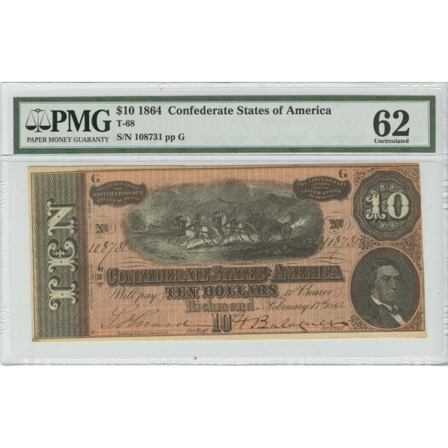 $10 1864 Confederate States of America T-68 PMG 62 Unc