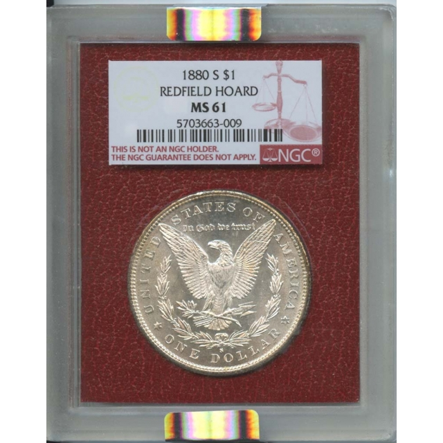 1880-S $1 Morgan Dollar Redfield Hoard NGC MS61