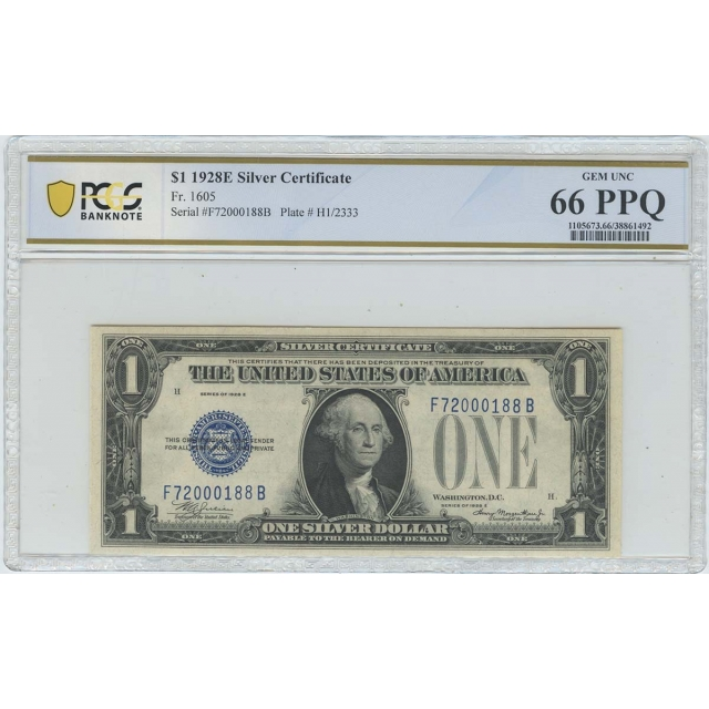 1928E $1 Silver Certificate FR#1605 PCGS Banknote Gem 66 PPQ
