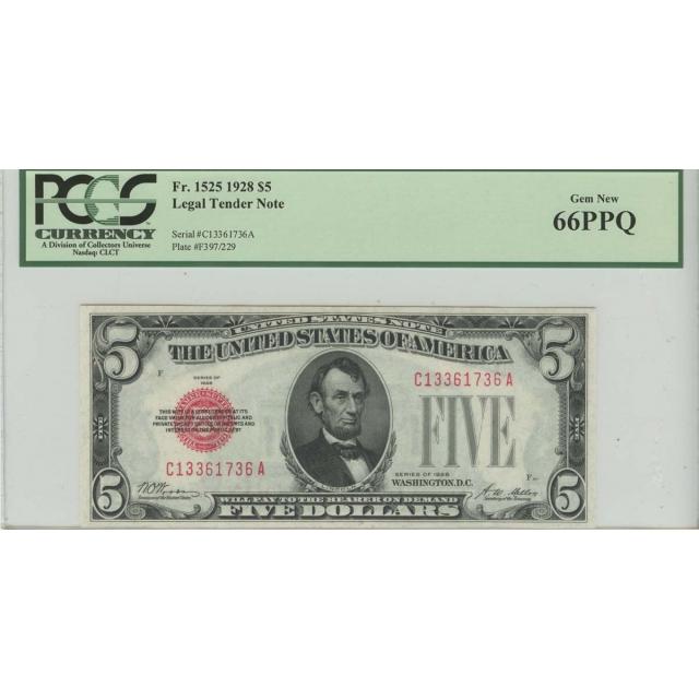 1928 $5 Legal Tender Note PCGS 66 Gem New PPQ