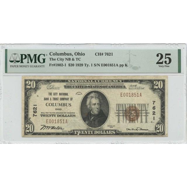 1929 Ty.1 $20 City NB & TC Columbus OH CH#7621 PMG VF25