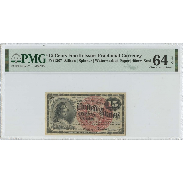 Fourth Issue 15 Cents Fractional Watermarked Paper FR#1267 PMG 64 EPQ