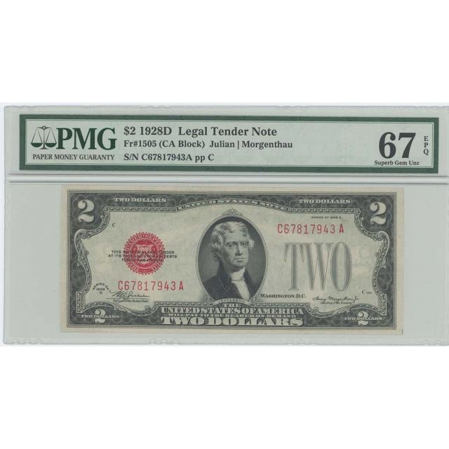 1928D $2 Legal Tender FR#1505 PMG 67 EPQ Superb Gem